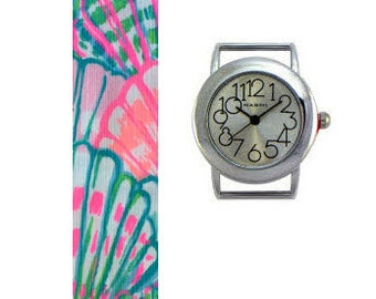 2015 Lilly Pulitzer Oh Shello Fabric Wrist Band with or without Silver Watch Face