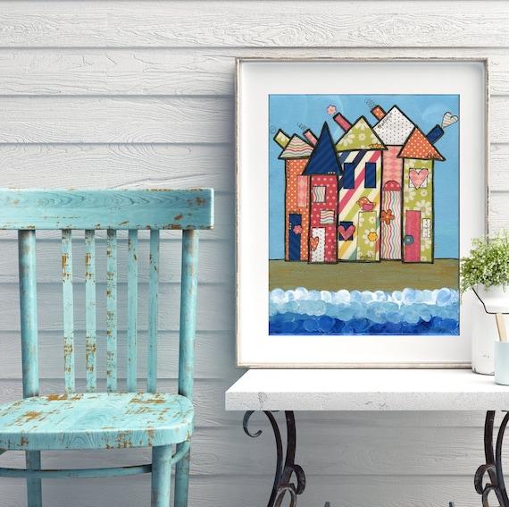 Beach house decor Beach art whimsical mixed media print colorful houses by the sea bright folk art Original art by Alli Rogosich