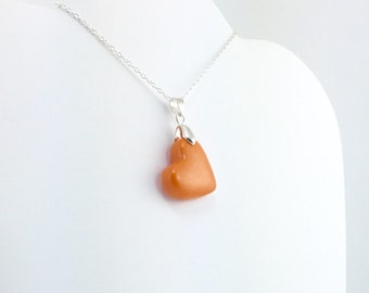 Med. Orange Clay Heart Pendant - Simple Heart Necklace - Medium Orange Heart Necklace  - Wedding Jewelry, Bridesmaid Necklace - MADE toORDER