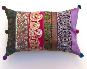 Bohemian Cushion / Pillow Cover - Pink, Purple, Green