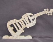 Fiddle Blue Grass  Music Instrument Puzzle Wooden Toy Hand Cut with Scroll Saw