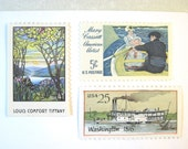 Vintage Postage Stamps, Water Scenes, Tiffany Glass Stamp, Cassatt Painting, Ships, Mail 20 Nautical Wedding Invitations, 71 cents postage