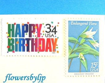Birthday Postage Stamps 2017 rate, Happy Birthday Stamps, Wildflowers Stamps, Mail 10 Birthday Cards or Party Invitations, 1 oz 49 cents