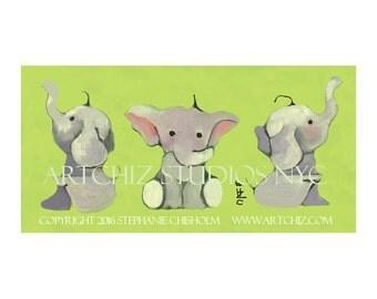 Baby Elephant Art.  Lime Green. 3 Cute Baby Elephants. 3 Sides of A Trumpet. Nursery Decor. Illustration. Jungle. Kids. Poster