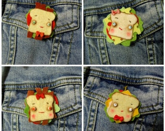 Sandwich Pin, Brooch or Badge, Felt Food MADE TO ORDER