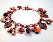 Copper Charm Bracelet, Woodland Birds and Hearts Bracelet, FREE Shipping U.S.