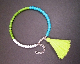 Tassel Charm Bracelet, Blue Greeen and White Glass Beaded, Silver Bangle Bracelet, FREE Shipping U.S.