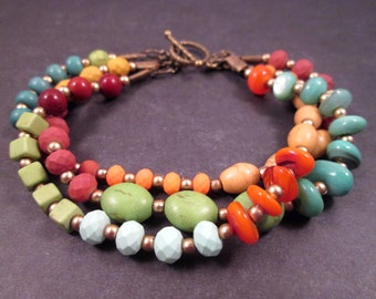 Multi Strand Bracelet, Colorful Stone and Brass Beaded Bracelet, FREE Shipping U.S.