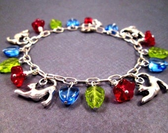 CAT Charm Bracelet, Flowers and Hearts, Red Blue Green and Silver Beaded Bracelet, FREE Shipping U.S.