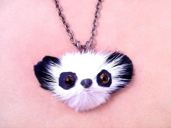 Fun Fur Necklace, Pretty Panda, Real Rabbit Fur Pendant and Copper Necklace, FREE Shipping U.S.