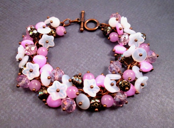 Pink and White Cha Cha Bracelet, Precious Things, Copper Wire Wrapped, Glass Beaded Bracelet, FREE Shipping U.S.