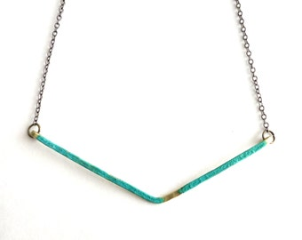 Patina and Brass Necklace