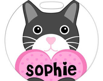Luggage Tag - Gray Custom Name Cat with Heart - Round Plastic Bag ID Tag