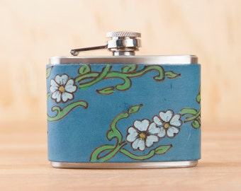 Leather Flask - Handmade Hip Flask in the Willow pattern with flowers and vines in blue - 4oz Size - Bridesmaid Flask - Wedding Flask