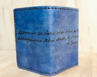Mens Wallet Trifold - Personalized Wallet in the Smokey Pattern with Custom Inscription - Blue Leather