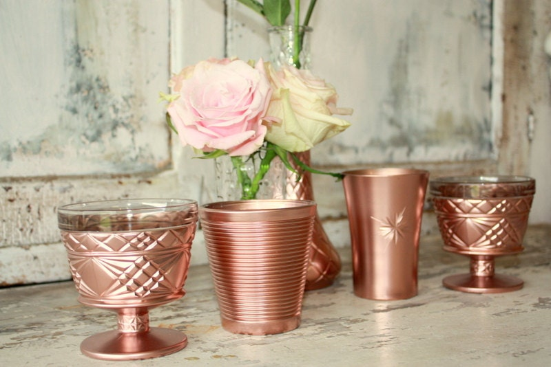 Rose gold wedding decor set of 6 dipped vintage vases and for Decoration rose gold