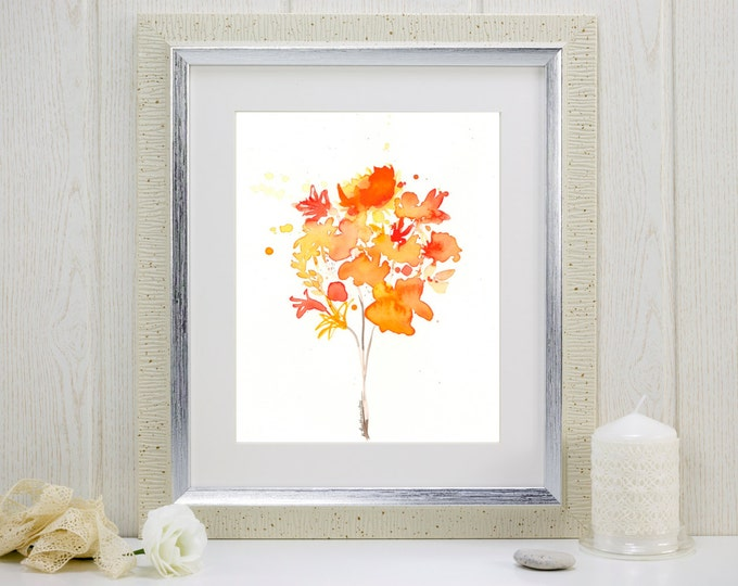 """Watercolor flowers art print, orange and yellow: """"Bouquet of Sunshine"""""""