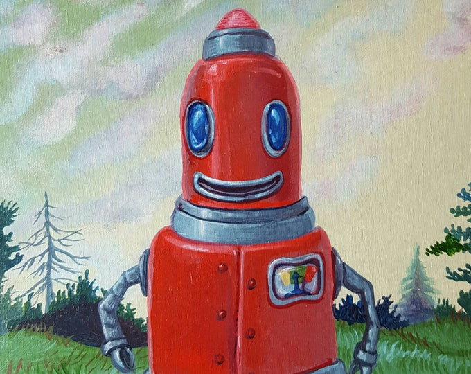 Smiling Red Robot - Original painting by Mr Hooper of Nashville, Tennessee