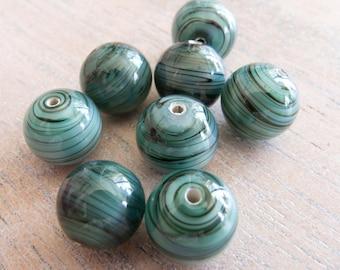 Vintage Japan Green Swirled Handmade Satin Glass Beads -  10mm - Lot of 6