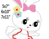 Bunny Hop Easter Machine Embroidery Applique Pattern 5x7 6x10 7x11 INSTANT DOWNLOAD