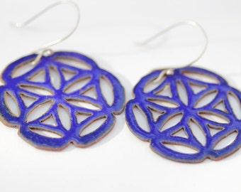 Blue Pierced Mandala Enamel Earrings - Flower of Life