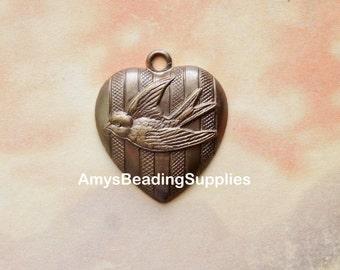 Vintaj Natural Brass Love Bird Heart Pendant 23x27mm, 1 Piece (P0023R)