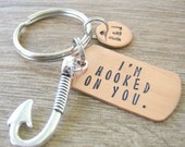 I'm Hooked On You Keychain with Fish Hook Charm, Fishing Keychain, fisherman gift, fish keychain, loves to fish, optional initial disc
