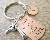 Love is in the Hair Keychain, blow dryer charm, optional intial disc, Hairdresser gift, Hairdresser keyring, hairstylist gift, diva gift