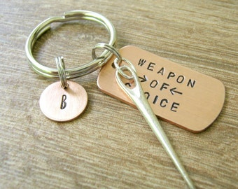 NEEDLE Keychain, Weapon of Choice with needle charm, add optional iniital disc, see pictures, stitching keychain, sewing, needlepoint