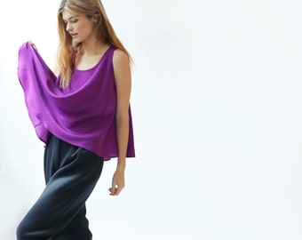 Orchid Purple Silk Crepe De Chine cropped swing Tank Top