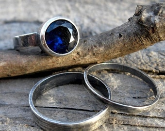 20% OFF TODAY - Sapphire Ring Set  September Birthstone Ring  gemstone ring sterling stacking ring 8mm sapphire ring