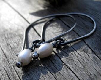 FLASH Sale 20% OFF Fresh water pearl sterling silver dangle earrings