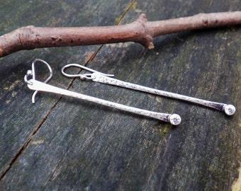 Cubic Zirconia Long Dangle Earrings ... sterling silver long bar dangles diamond dangle earrings long dangle earrings