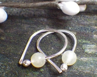 20% OFF TODAY - Honey Jade Earrings - petite yellow earrings sterling silver beaded earrings