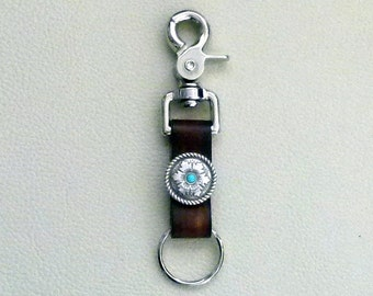 Leather Trigger Snap Key Ring, Southwestern Leather Keyring