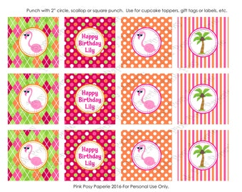 Printable Flamingo Personalized Birthday Cupcake Toppers