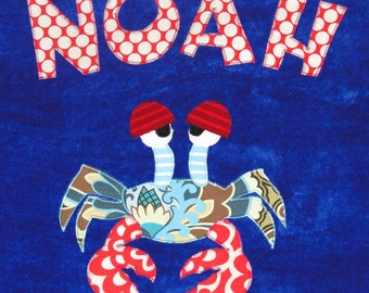 Personalized Large Royal Blue Velour Beach Towel with Crab, Kids Bath Towel, Bath Towel, Camp Towel, Bridal Party Gift,Pool Towel,Beach Gift