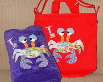Personalized Canvas Shoulder Bag in color Poppy and Towel with Crab,Kids Personalized Bag,Beach Bag,Pool Bag,Crab Gift,crab towel