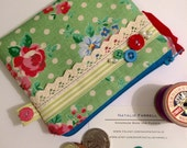 Green Polka Dot Coin Purse with Buttons and Ribbon, Zipper, Pouch, Women's Wallet with Ribbon, Lace and Button Trim