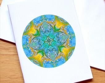 Marbled Paper Mandala Design Notebook no. 4