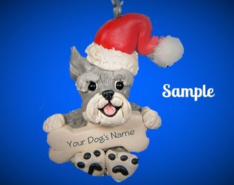 salt and pepper Schnauzer Santa Dog CROPPED Ears Christmas Bone Ornament Sally's Bits of Clay PERSONALIZED FREE with dog's name