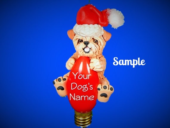 tan natural Ears Brussels Griffon Santa Dog mouth open Christmas Light Bulb Ornament Sally's Bits of Clay PERSONALIZED FREE with dog's name