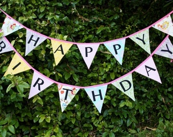 Ready To Ship As Shown, Happy Birthday Banner Bunting Party Flags.  Fairy Garland Party Decoration.  Cake Smash Photo Prop, Shabby for Girls