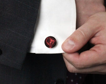 Heart Nebula Cuff Links - Galaxy Accessories - Black and Red - Men Gifts, Space Cufflinks, Science Wedding, Stars, Fathers Day, Valentine