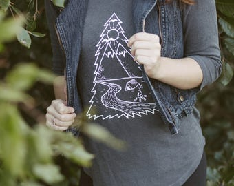 Illustrated Tree Tee - Gray Tunic - 3/4 Sleeve Camping Shirt - Wearable Art, Hand-Drawn Adventure Clothing, Screen printed, Handmade