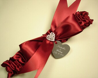 Red Wedding Garter, Personalized Scarlet Red Bridal Garter with a Rhinestone Heart and Engraving