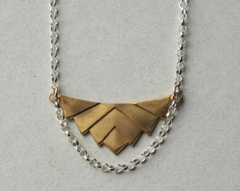 Brass Geometric Necklace, Brass Chevron Pendant Necklace, Geometric Statement Jewelry, Modern Brass Jewelry, Mixed Metal Jewellery