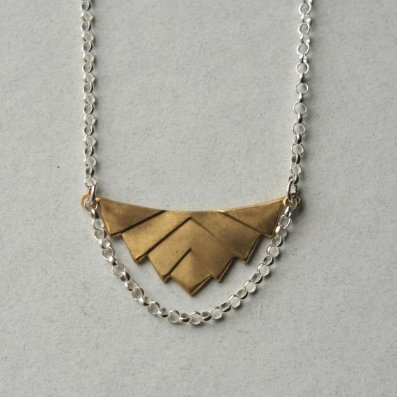 Brass Geometric Necklace, Brass Chevron Pendant Necklace, Geometric Jewelry, Modern Brass Jewelry, Mixed Metal Jewelry