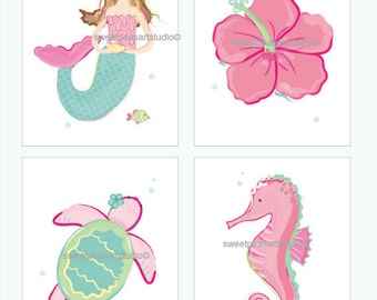 Mermaid Art, Girls Mermaid, Sea Turtle Art Prints For Mermaid Bedding Decor, Bath Mermaid Wall Decor, Choose 8 x 10 set size