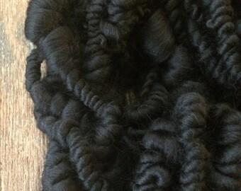 My Heart Is As Black As The Night,  wild art yarn, coiled chunky yarn, beehive art yarn, handspun art yarn, weaving yarn, art yarn